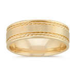 Textured Comfort Fit Ring with Satin Finish in 14k Yellow Gold (7mm)