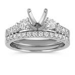 Three-Stone Cathedral Diamond Wedding Set