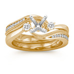 Three-Stone Diamond Swirl Wedding Set in 14k Yellow Gold