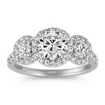 Three-Stone Halo Engagement Ring with Pavé Setting