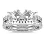 Three-Stone Princess Cut and Round Diamond Cathedral Wedding Set