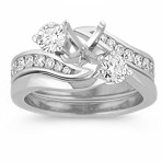 Three-Stone Swirl Diamond Wedding Set with Channel-Setting