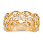 Trellis Diamond Ring in 14k Yellow Gold