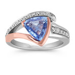 Trillion Ice Blue Sapphire and Round Diamond Ring in 14k Two-Tone Gold
