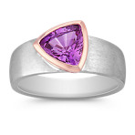 Trillion Lavender Sapphire Ring in Rose and White Gold