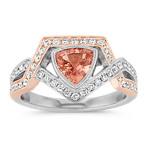 Trillion Peach Sapphire and Round Diamond Ring