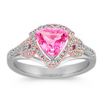 Trillion Pink Sapphire and Round Diamond Ring in 14k White and Rose Gold