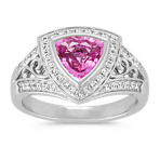 Trillion Pink Sapphire and Round Diamond Ring
