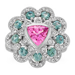 Trillion Pink Sapphire, Round Blue Green Sapphire and Diamond Ring
