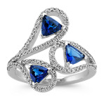 Trillion Sapphire and Round Diamond Ring