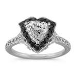 Trillion White Sapphire, Round Black Sapphire and Round Diamond Ring