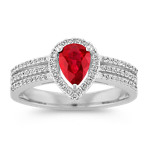 Triple Banded Ruby Ring With Pear-Shaped Diamond Halo