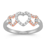 Triple Heart Diamond Ring in 14k Rose Gold and Sterling Silver