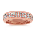 Triple Row Diamond Ring in Rose Gold with Pavé Setting (7mm)