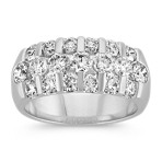 Triple Row Round Diamond Ring with Channel-Setting