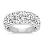 Triple Row Round Diamond Ring
