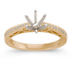 Vintage Cathedral Diamond Engagement Ring in 14k Yellow Gold