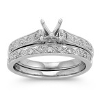 Vintage Cathedral Round Diamond Wedding Set