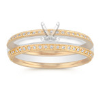 Vintage Diamond Double Wedding Band with Pavé-Setting