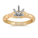 Vintage Diamond Engagement Ring with Pavé-Setting in 14k Yellow Gold