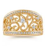 Vintage Diamond Fashion Ring with Milgrain Detailing