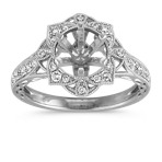 Vintage Diamond Floral Halo Engagement Ring with Pavé Setting