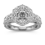 Vintage Floral Halo Diamond Engagement Ring