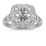Vintage Halo Engagement Ring with Pavé-Set Round Diamonds