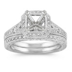 Vintage Halo Round Diamond Wedding Set in Platinum