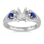 Vintage Pear-Shaped Sapphire and Round Diamond Platinum Engagement Ring