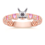 Vintage Pink Sapphire and Diamond Rose Gold Engagement Ring with Pavé Setting