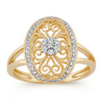 Vintage Round Diamond 14k Yellow Gold Ring