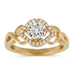 Vintage Round Diamond Swirl Ring in 14k Yellow Gold