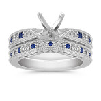 Vintage Round Sapphire and Diamond Wedding Set with Pavé Setting