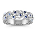 Vintage Sapphire and Diamond Wedding Band with Pavé Setting