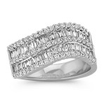 Waved Double Row Baguette and Round Diamond Ring