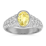 Yellow Sapphire and Diamond Fashion Ring with Bezel Setting