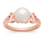 8mm Cultured Akoya Pearl and Round Diamond Ring in Rose Gold