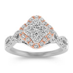 Vintage Diamond Ring in 14k Rose and White Gold