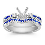 Vintage Sapphire and Diamond Wedding Set with Pavé Setting