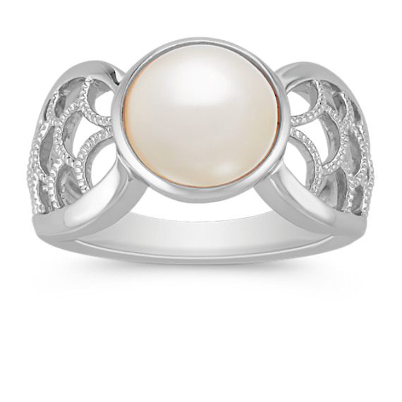 10mm Cultured Freshwater Pearl and Sterling Silver Ring