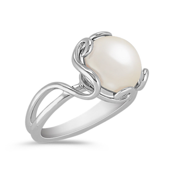 10mm Cultured Freshwater Pearl Ring in Sterling Silver