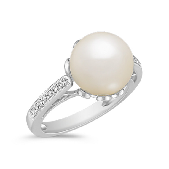 10mm Cultured South Sea Pearl and Round Diamond Ring