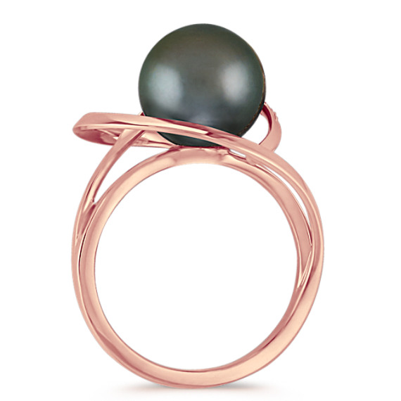 10mm Cultured Tahitian Pearl and Round Diamond Ring in Rose Gold