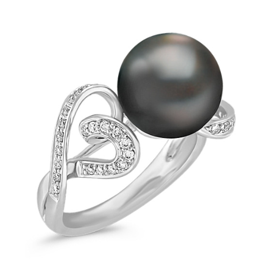 10mm Cultured Tahitian Pearl and Round Diamond Ring