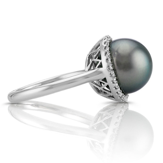 11mm Cultured Tahitian Pearl and Diamond Halo Ring