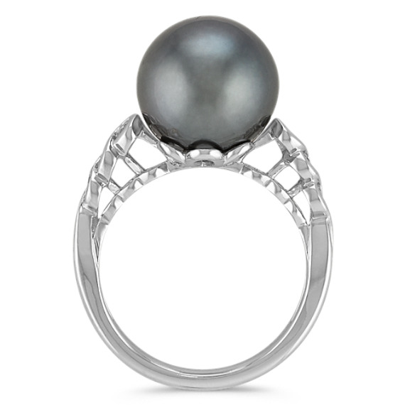 11mm Cultured Tahitian Pearl and Diamond Ring