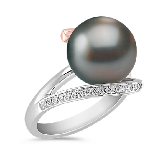 11mm Cultured Tahitian Pearl and Round Diamond Ring in 14k White and Rose Gold