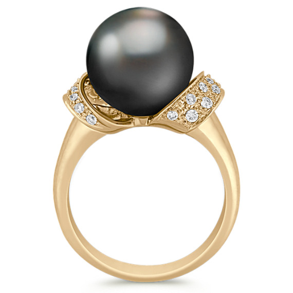 11mm Cultured Tahitian Pearl and Round Diamond Ring