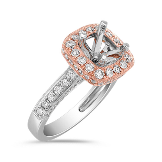 14k Rose Gold Halo and 14k White Gold Diamond Engagement Ring